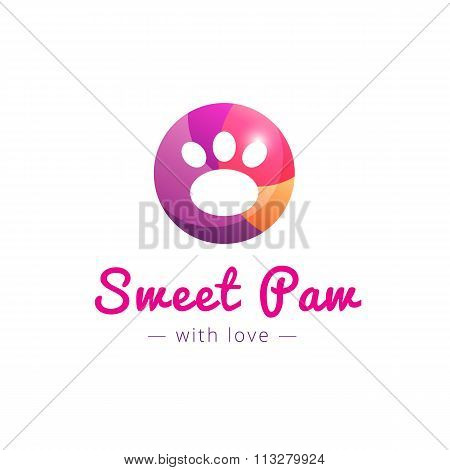 Vector cute paw logo. Pet shop sign