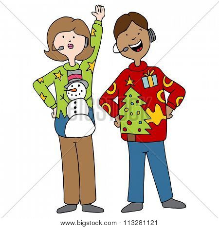 An image of a people wearing ugly christmas sweaters.