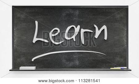 Learn written on blackboard