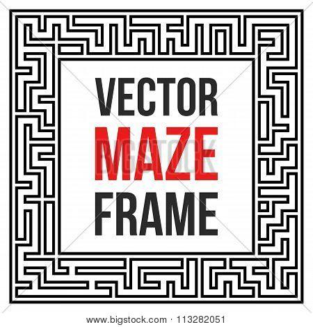 Vector Maze Frame. Vintage Maze Border
