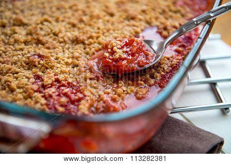 Rhubarb And Strawberry Crumble
