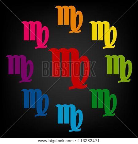 Zodiac sign Virgo. Vector zodiac signs set