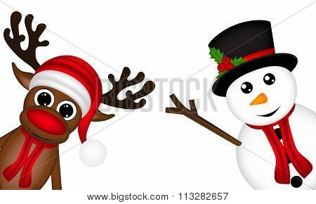 Reindeer And A Snowman On The Side Of A White Background