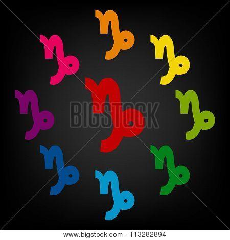 Zodiac sign Capricorn. Vector zodiac signs set