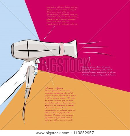 Hair dryer hand drawn scetch multicolor illustration. Vector