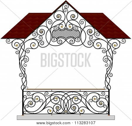 Vector wrought iron modular railings and fences with canopy