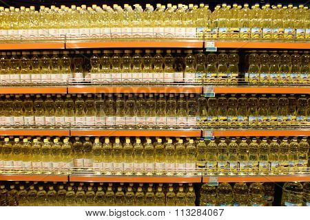 sunflower-seed oil in the shelves of supermarket