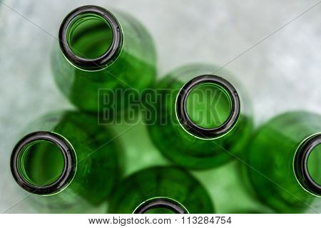Group Of Green Opened Bottles