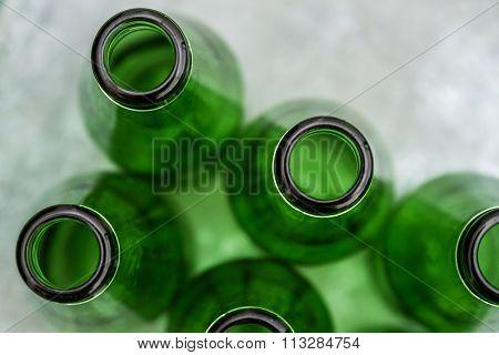 Group Of Green Opened Bottles
