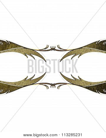 Nameplate With Gold Pattern. Element For Design. Template For Design. Copy Space For Ad Brochure Or