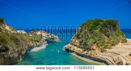 Famous Canal D'amour in Sidari - Corfu island, Greece