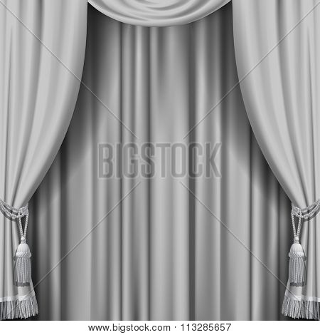 White curtain. Square theater background. Artistic poster. Vector illustration