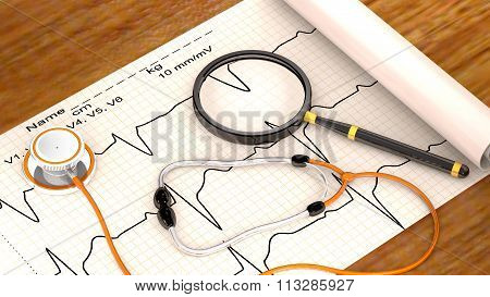 Stethoscope, Paper, Cardiogram And Magnifier Are On The Table.