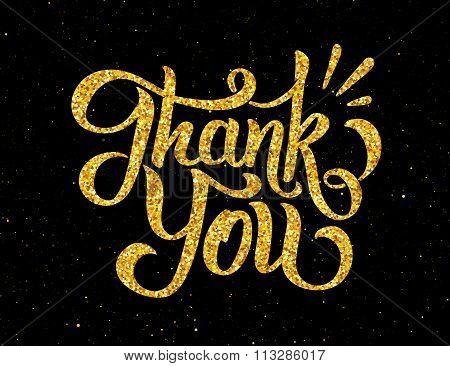 Thank You golden handdrawn lettering