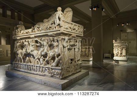 Sidamara Sarcophagus at Istanbul Archeology Museum, Turkey