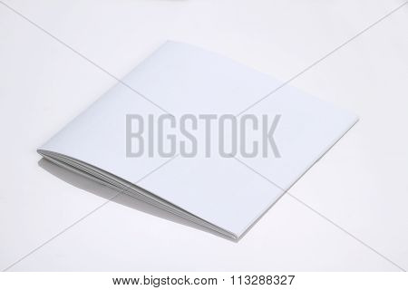 Folded White Blank Brochure Magazine Cover For Mockups