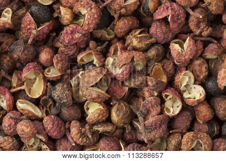 Dried Sichuan pepper seeds full frame