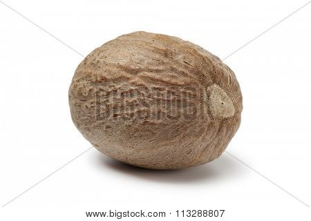 Single nutmeg kernel on white background