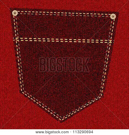 Red jeans pocket