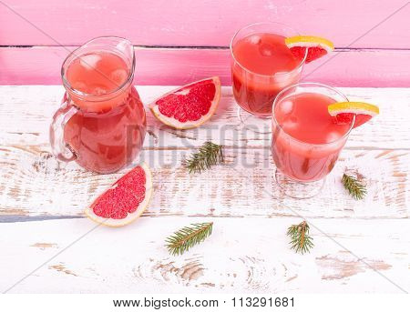 Grapefruit Juice In A Jug On A Table