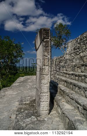 Stone Tiles On The Steps Of The Pyramid At Calakmul, Mexico