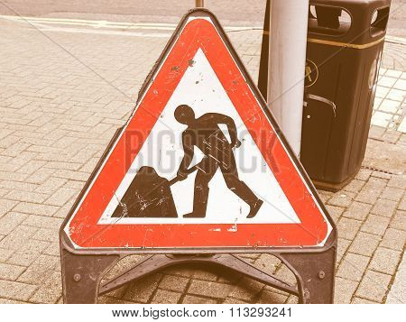Roadworks Sign Vintage