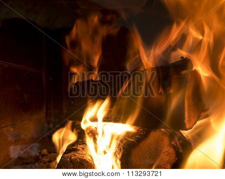 Burning Wood In The Stove