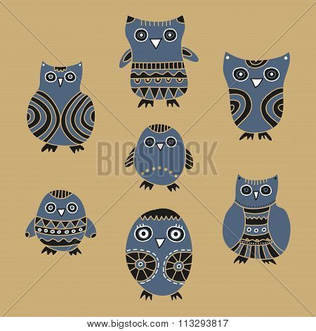 Set of cartoon owls and owlets on a beige background