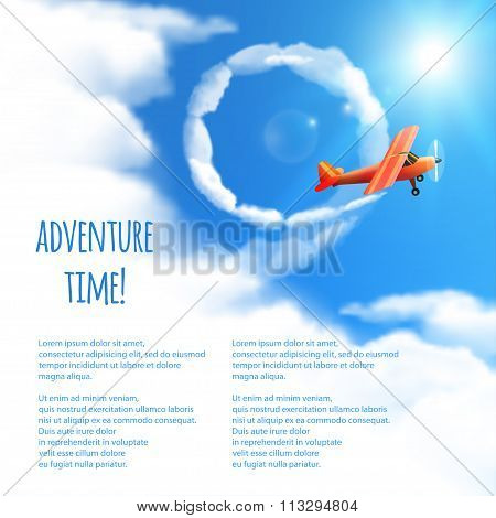 Sky Background With Red Airplane. Vector Illustration, Eps10, Editable.