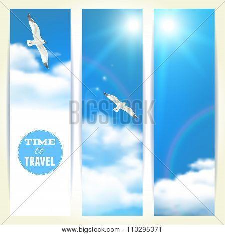 Set Of Vertical Banners With Seagulls. Vector Illustration, Eps10, Editable.