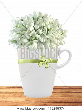 Beautiful Snowdrops In Cup On Table Isolated On White Background