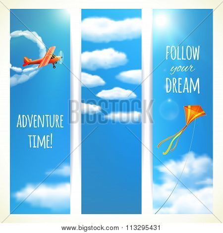 Set Of Vertical Banners With Skies. Vector Illustration, Eps10, Editable.
