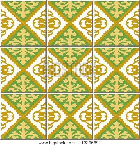 Vintage seamless wall tiles of jagged diamond check. Moroccan, Portuguese.