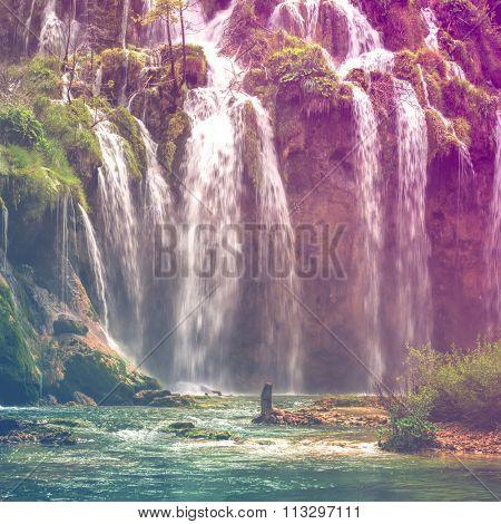 Autumnal view of beautiful waterfalls in Plitvice Lakes National Park, Croatia