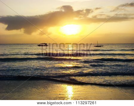 Sunrise On Tropical Sea Sand Beach