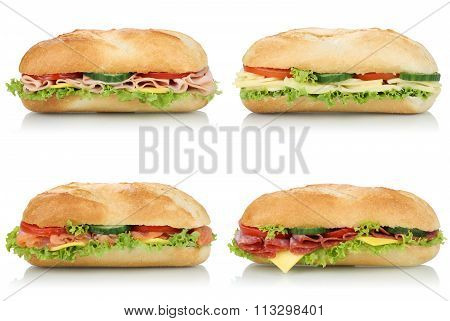 Collection Of Sub Deli Sandwiches Baguettes With Salami, Ham And Cheese Side View Isolated