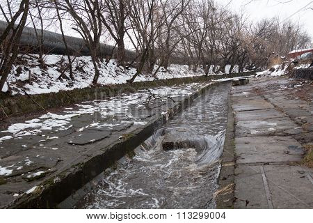 Urban Stream In Winter. The Lybid River.