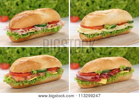 Collection Of Sub Deli Sandwiches Baguettes With Ham, Salami And Cheese