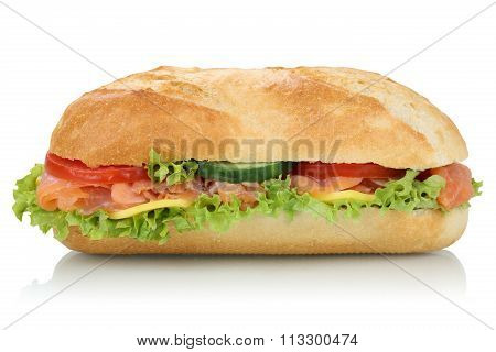 Sub Deli Sandwich Baguette With Salmon Fish Side View Isolated