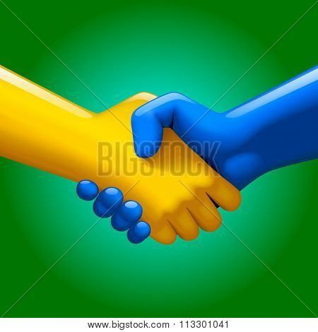 Handshake of blue and yellow artificial hands on green background. Symbol and metaphor of business partnership and high technology. Vector illustration