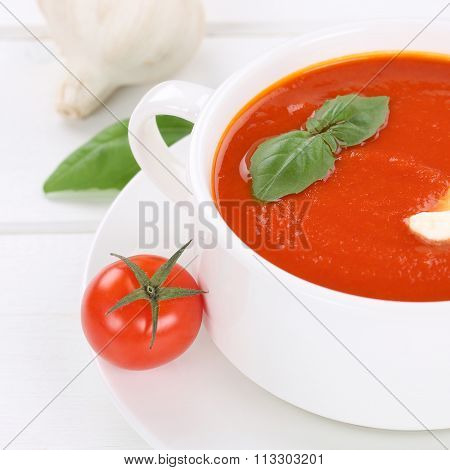 Healthy Eating Fresh Tomato Cream Soup With Tomatoes In Bowl