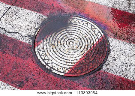 Manhole On The Zebra Crossing