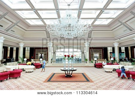 Sharm El Sheikh, Egypt -  November 29: The Lobby Of Rixos Sharm El Sheikh Luxury Hotel And Tourists