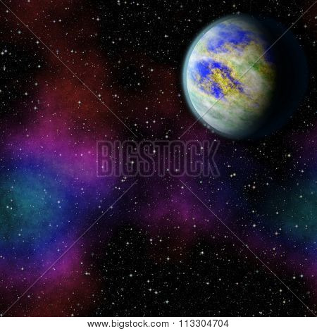 Mysterious, unknown planet in the universe. Life among the stars. Panoramic looking into deep space