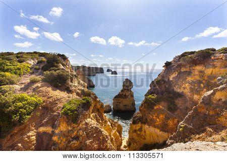 Cliffs at the beach praia da Marinha, Lagoa, Algarve Portugal