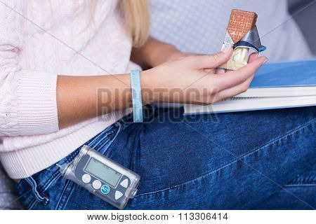 Diabetic Woman Eating Sweets