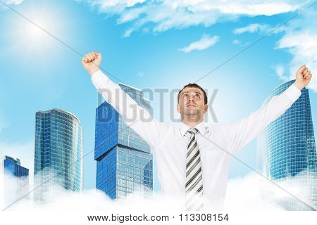 Young businessman enjoing success