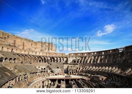 Rome; Italy - April 08: Ruins Of The Colloseum And Tourists In Rome; Italy. Rome Is The Capital Of I