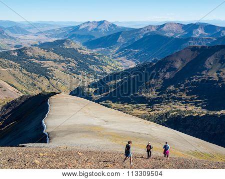 Hikers in alpine terrain