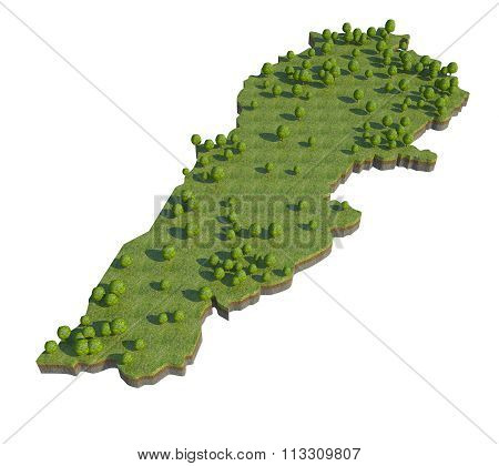Lebanon 3D Map Section Cut Isolated On White With Clipping Path